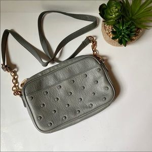 Deux Lux studded leather crossbody bag moss gray
